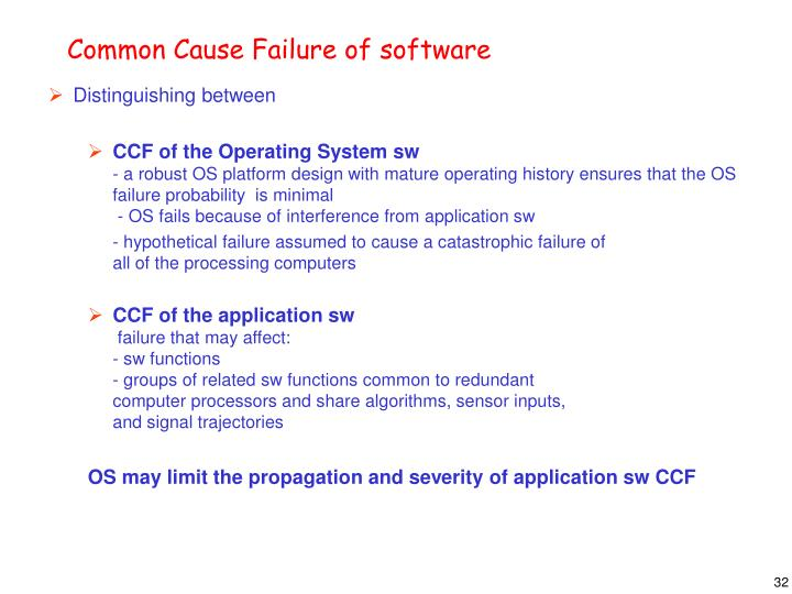 Common Cause Failure of software