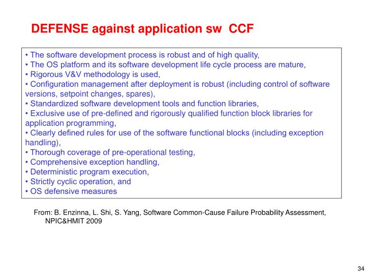DEFENSE against application sw  CCF