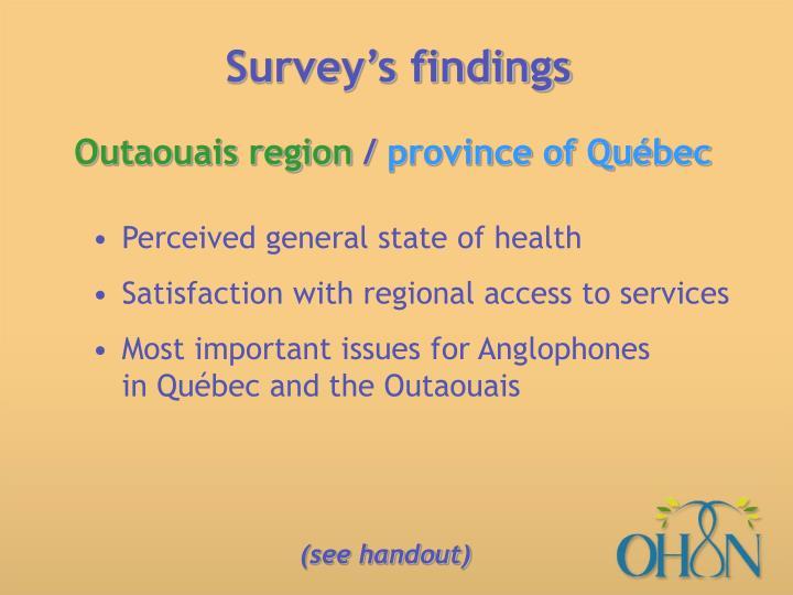 Survey's findings