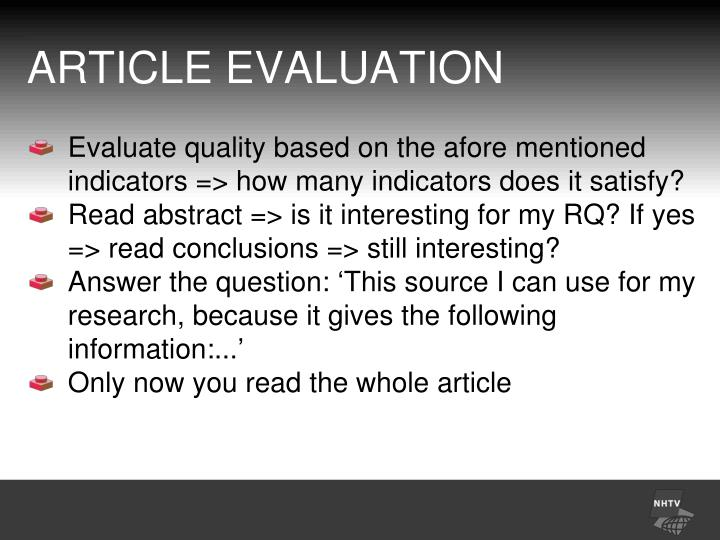 ARTICLE EVALUATION