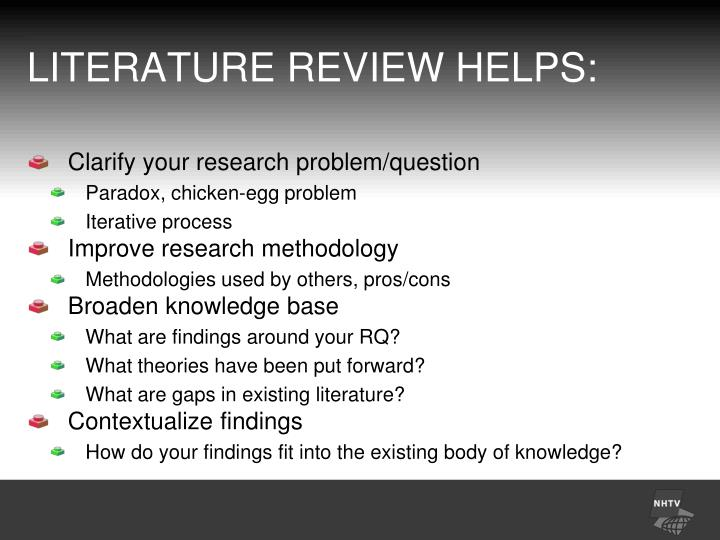 LITERATURE REVIEW HELPS:
