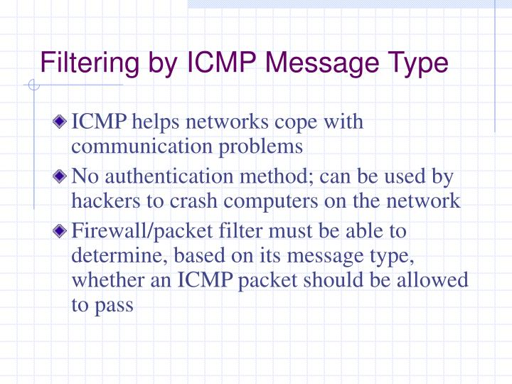 Filtering by ICMP Message Type
