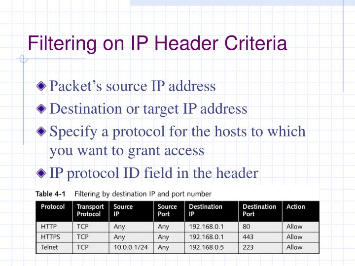 Filtering on IP Header Criteria