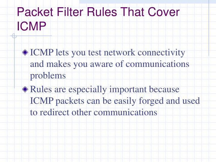 Packet Filter Rules That Cover ICMP