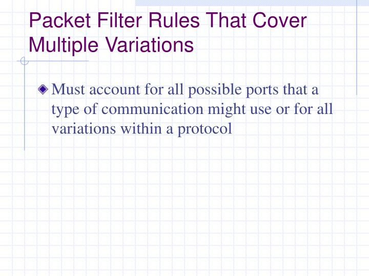 Packet Filter Rules That Cover Multiple Variations