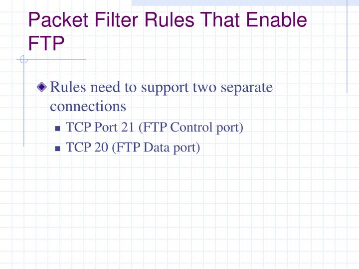 Packet Filter Rules That Enable FTP