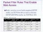 packet filter rules that enable web access