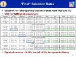 final selection rates