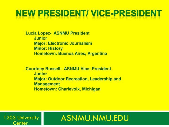 New President/ vice-president