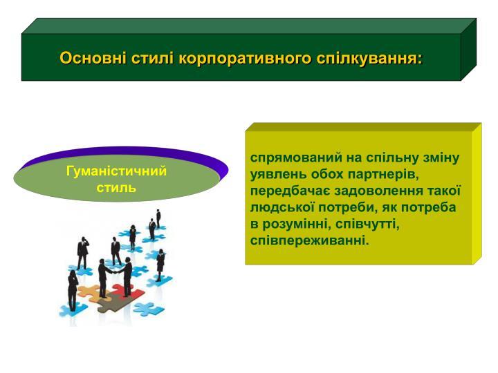 Основні стилі корпоративного спілкування: