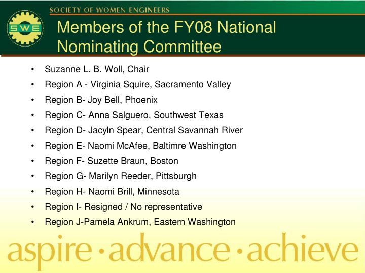 Members of the FY08 National Nominating Committee