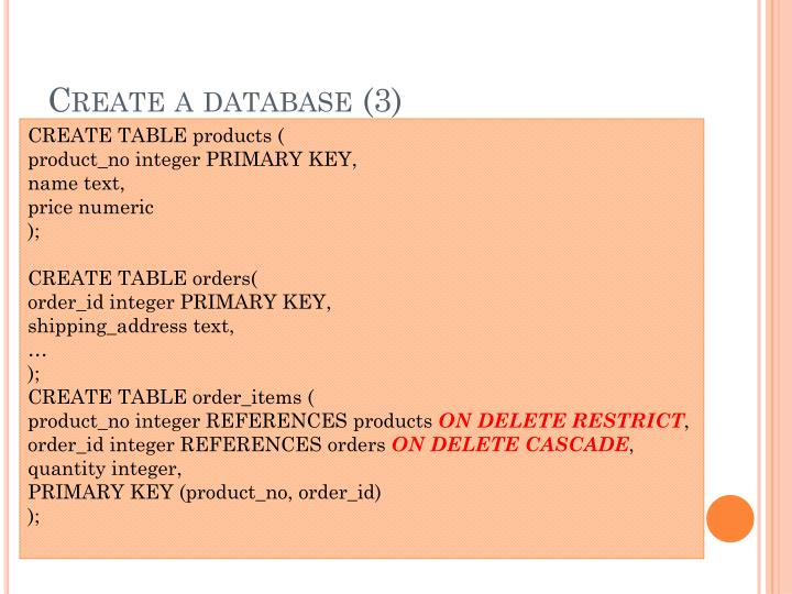 Create a database (3)