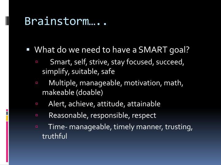 Brainstorm…..