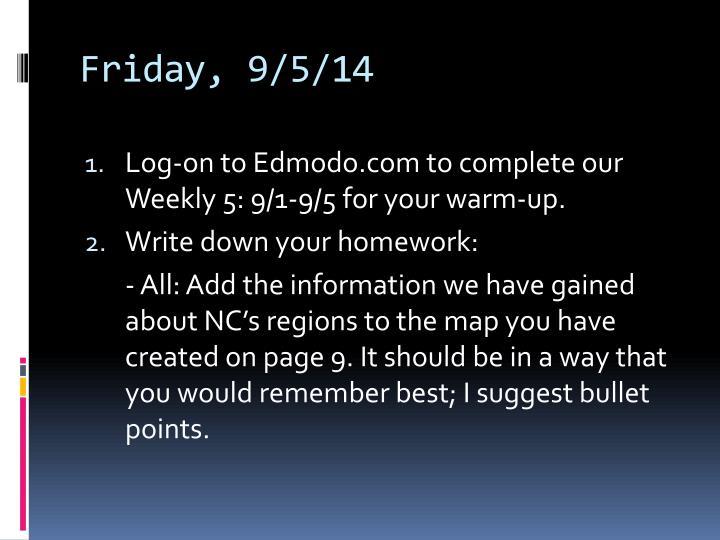 Friday, 9/5/14