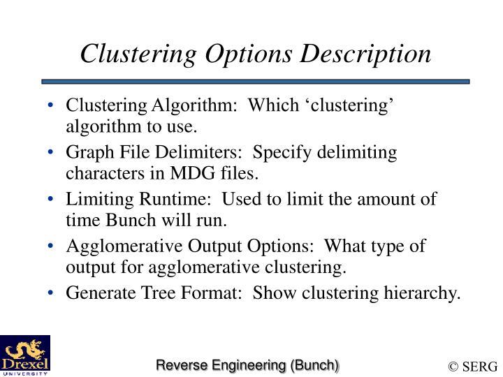 Clustering Options Description
