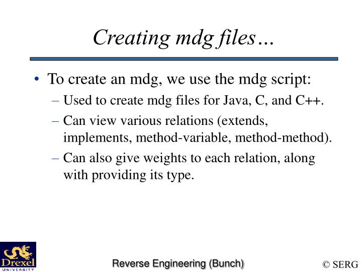 Creating mdg files…