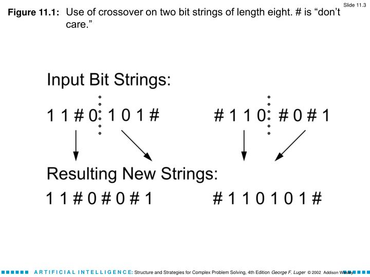 Figure 11 1 use of crossover on two bit strings of length eight is don t care
