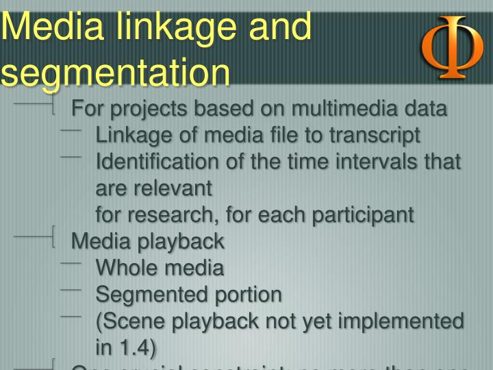 Media linkage and segmentation