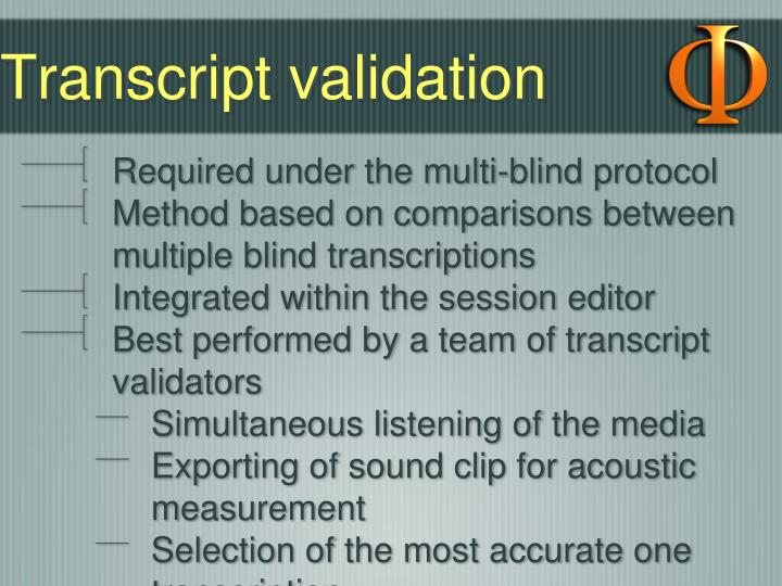 Transcript validation
