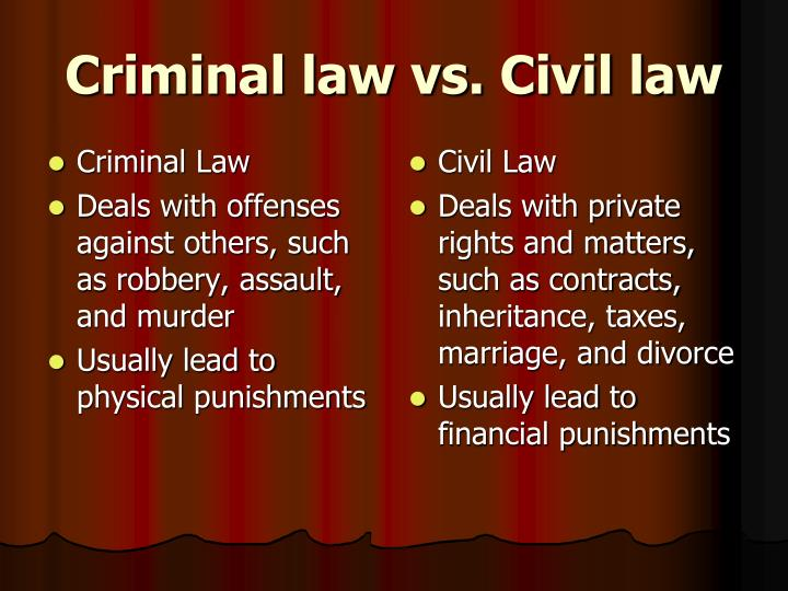 Civil Law vs. Criminal Law: Breaking Down the Differences