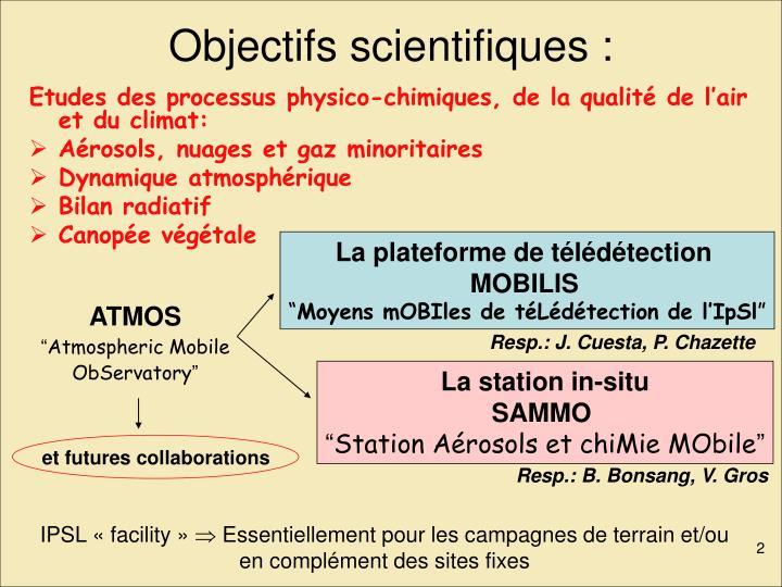 Objectifs scientifiques :