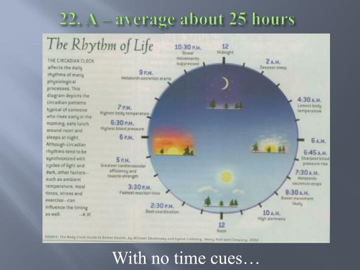 22. A – average about 25 hours