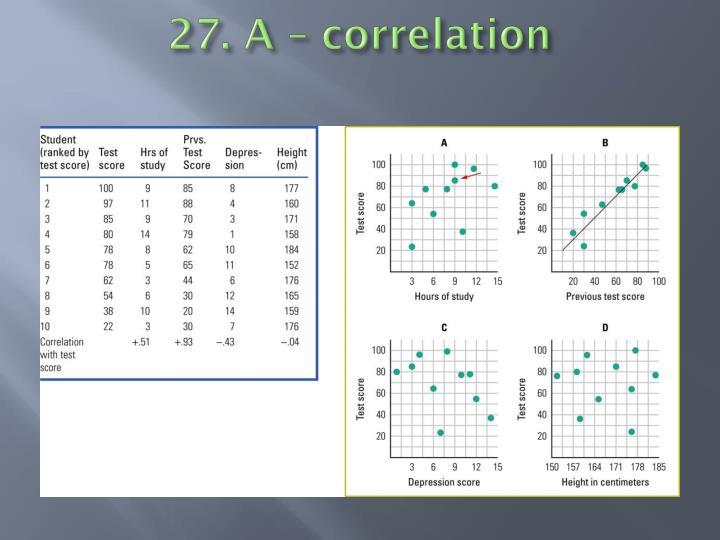 27. A – correlation