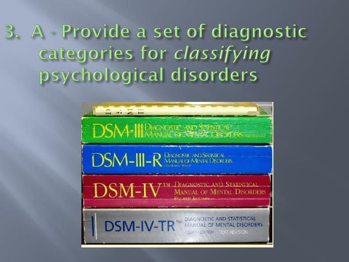 3.  A - Provide a set of diagnostic