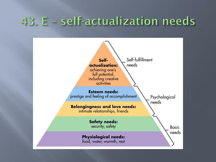 43. E – self-actualization needs