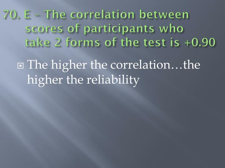 70. E – The correlation betweenscores of participants who take 2 forms of the test is +0.90