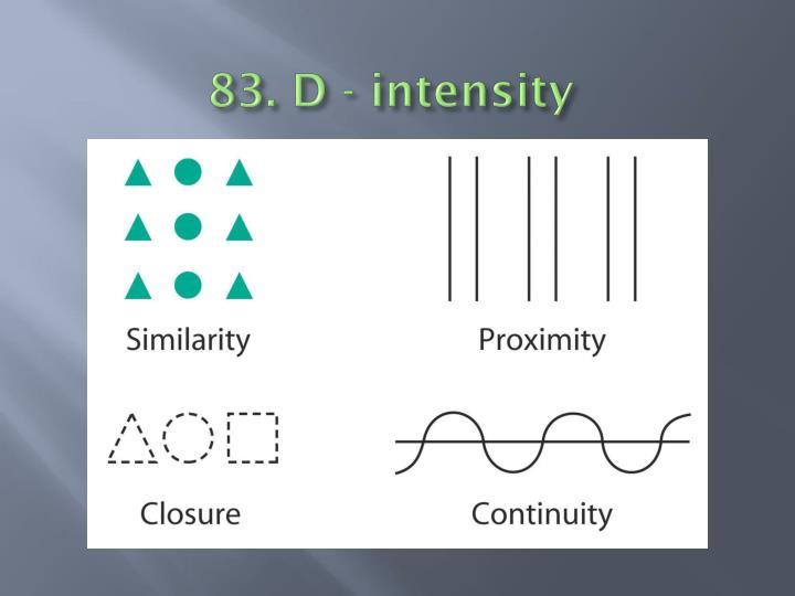 83. D - intensity
