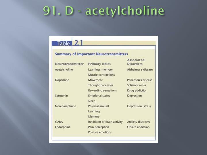 91. D - acetylcholine