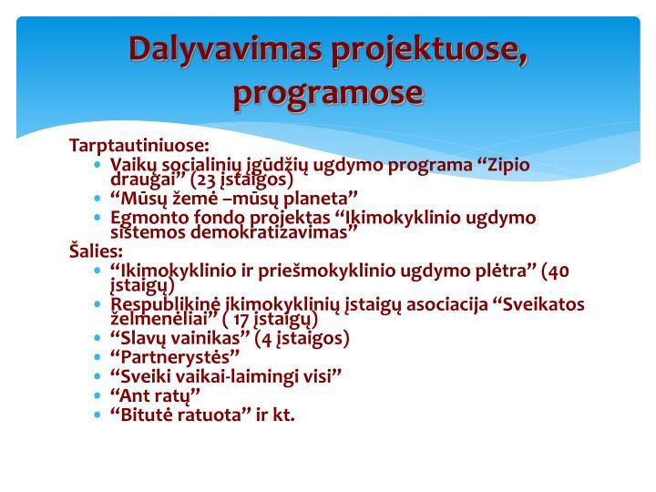 Dalyvavimas projektuose, programose