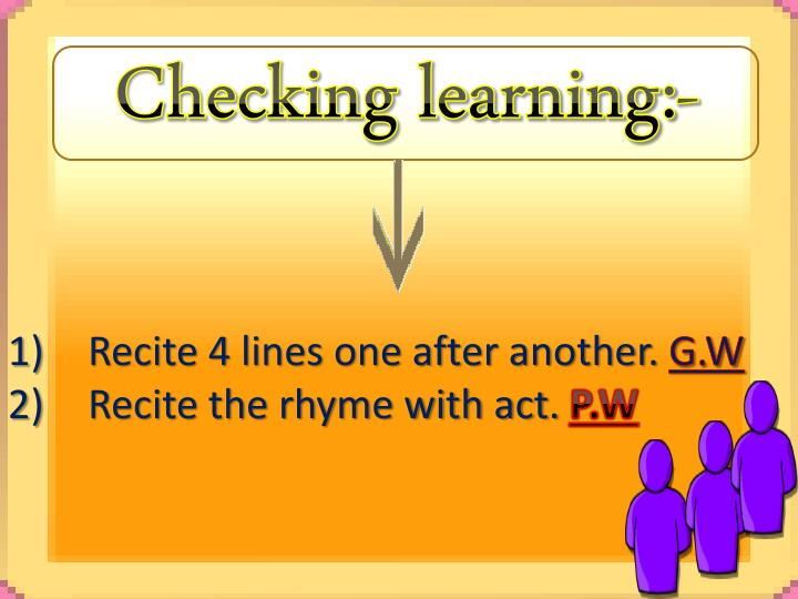 Checking learning:-