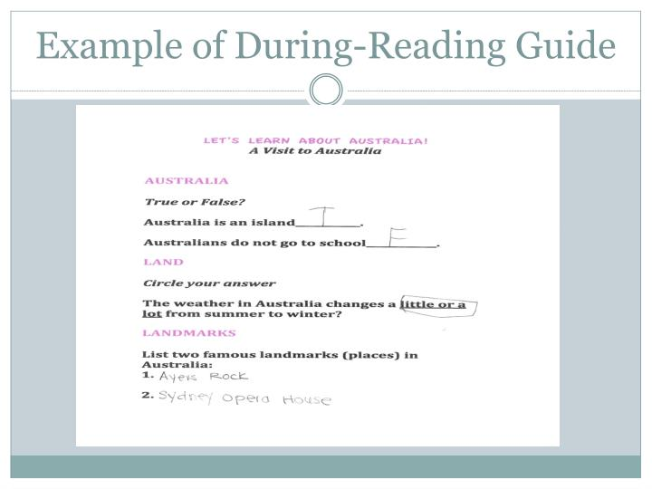 Example of During-Reading Guide