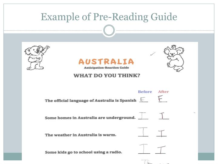 Example of Pre-Reading Guide