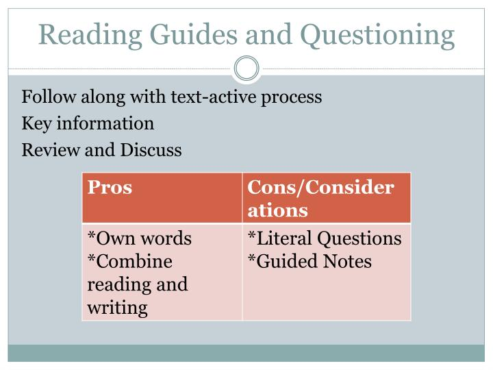 Reading Guides and Questioning