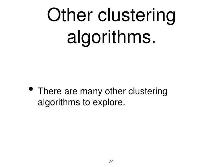 Other clustering algorithms.