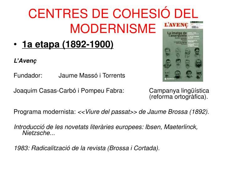 CENTRES DE COHESIÓ DEL MODERNISME