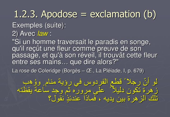 1.2.3. Apodose = exclamation (b)