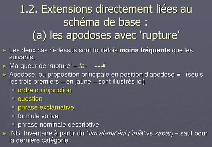 1.2. Extensions directement liées au schéma de base :