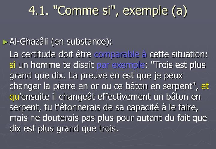 "4.1. ""Comme si"", exemple (a)"
