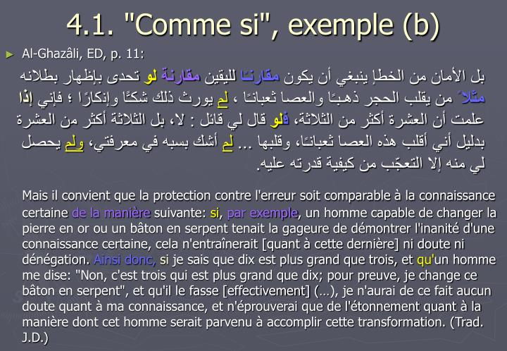 "4.1. ""Comme si"", exemple (b)"