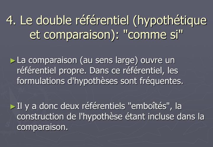 """4. Le double référentiel (hypothétique et comparaison): """"comme si"""""""