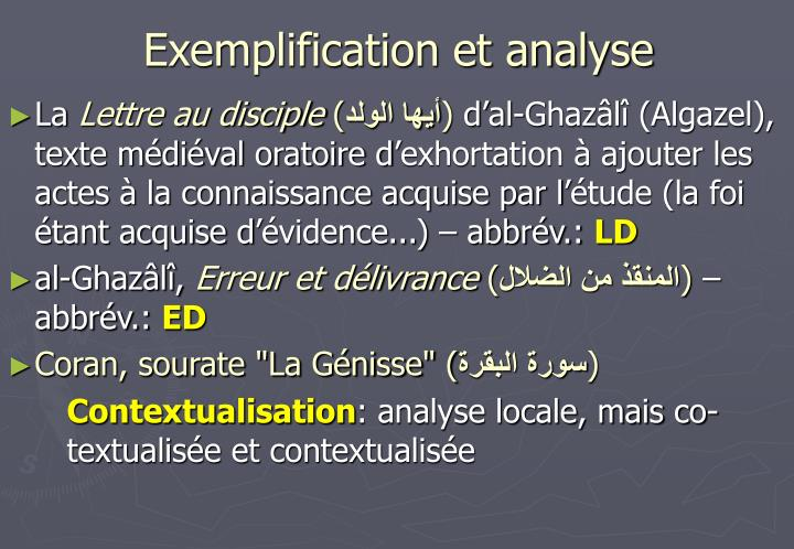 Exemplification et analyse