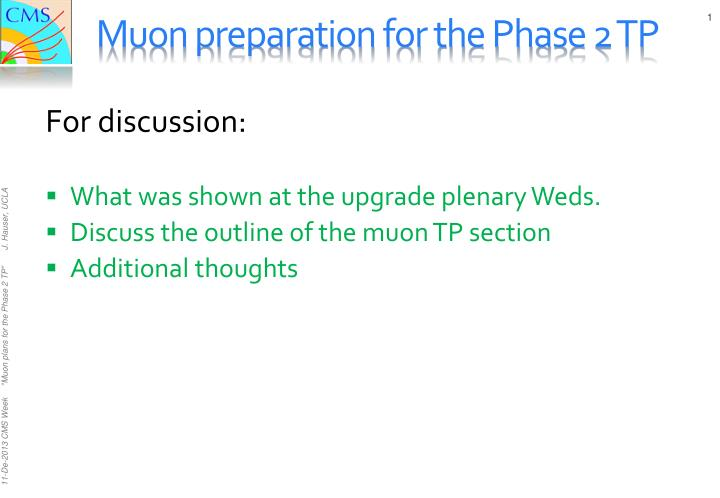 Muon preparation for the Phase 2 TP