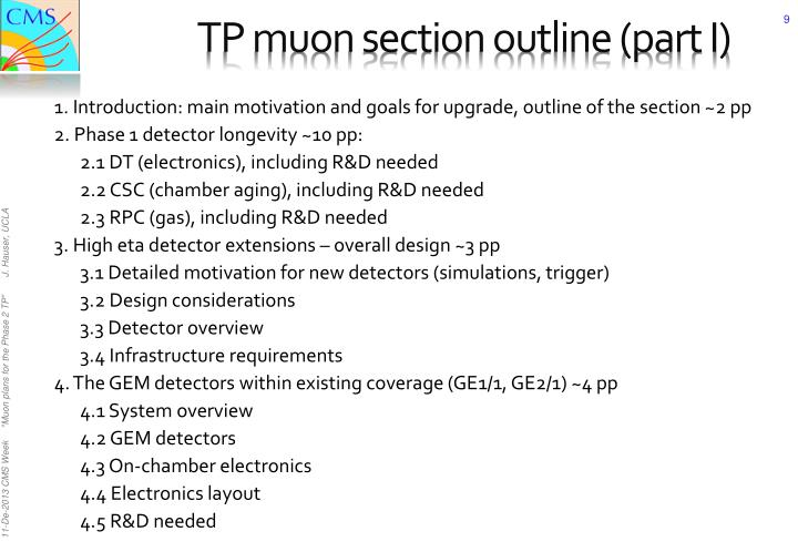 TP muon section outline (part I)