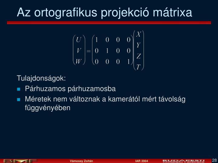 Az ortografikus projekció mátrixa