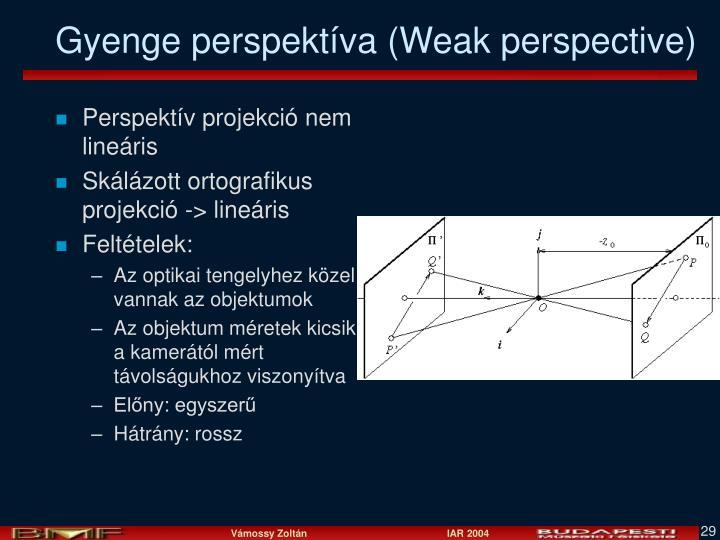 Perspektív projekció nem lineáris