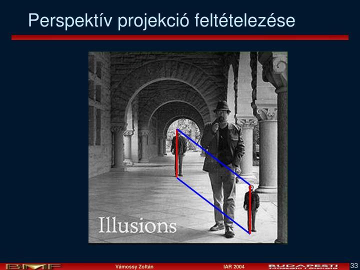 Perspektív projekció feltételezése